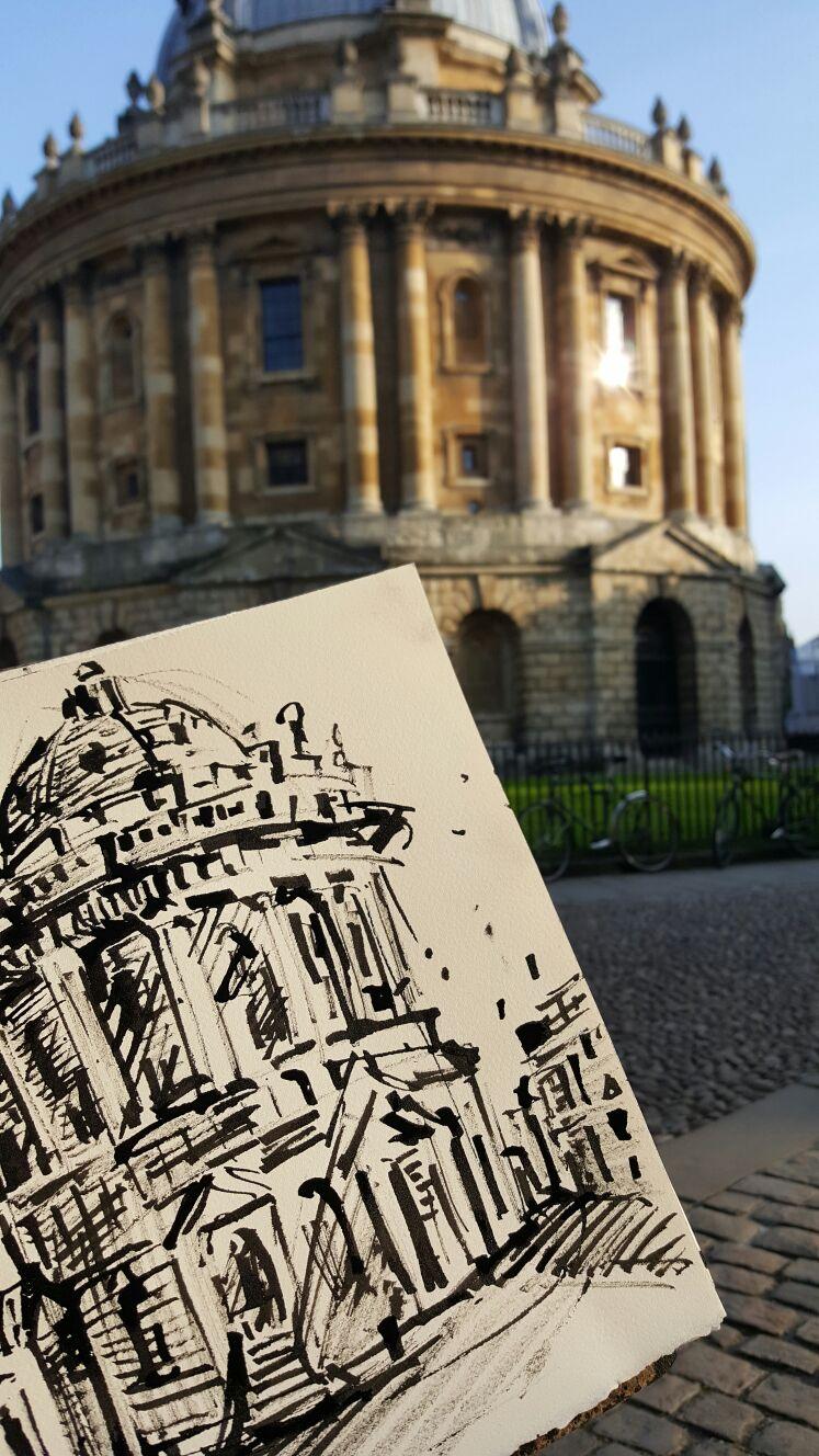 Voorstudie voor de muurschildering van Erasmus bij de Bodleian Library in Oxford (UK).